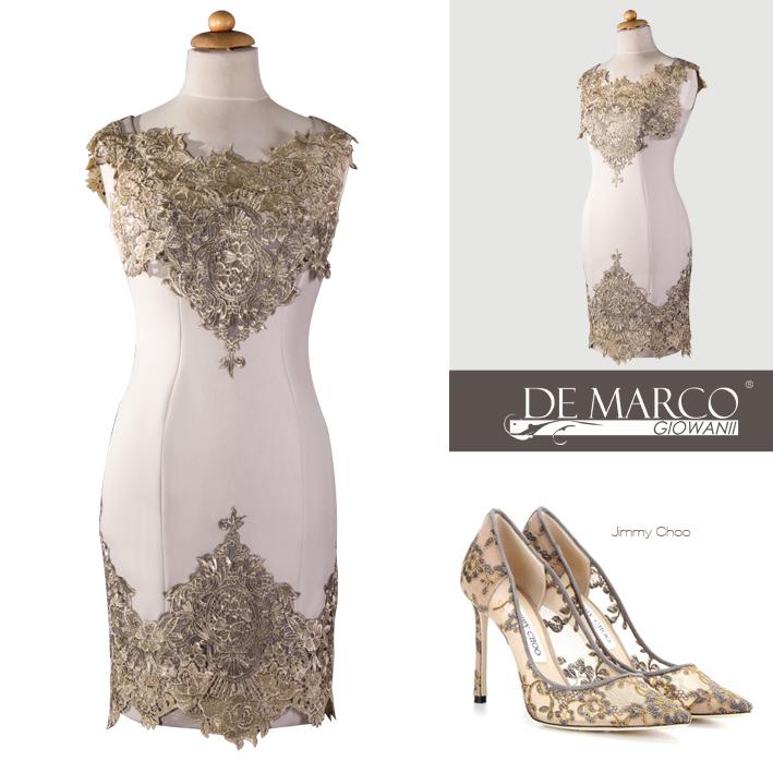 Ekskluzywne złote sukienki szyte na miarę u projektantki W. Frączek zamów w sklepie internetowym De Marco.