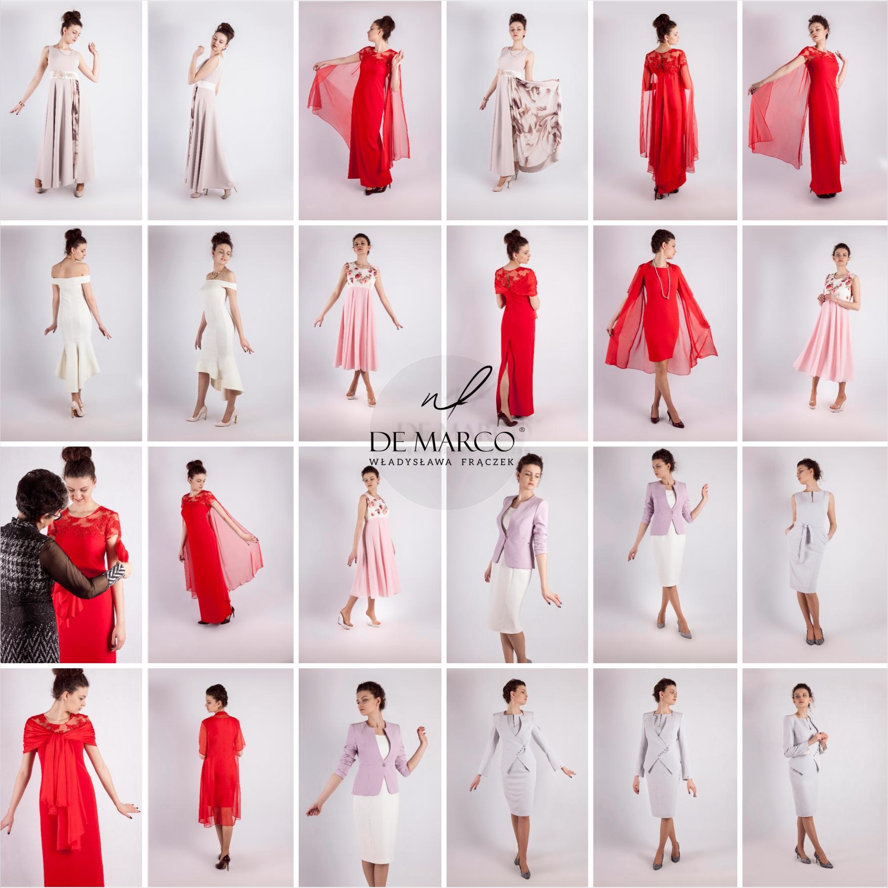 Sukienki na wesele, suknie ślubne, damskie garnitury wizytowe, garsonki damskie, kreacje balowe, wizytowe i bankietowe od projektanta. Sklep internetowy De Marco Frydrychowice