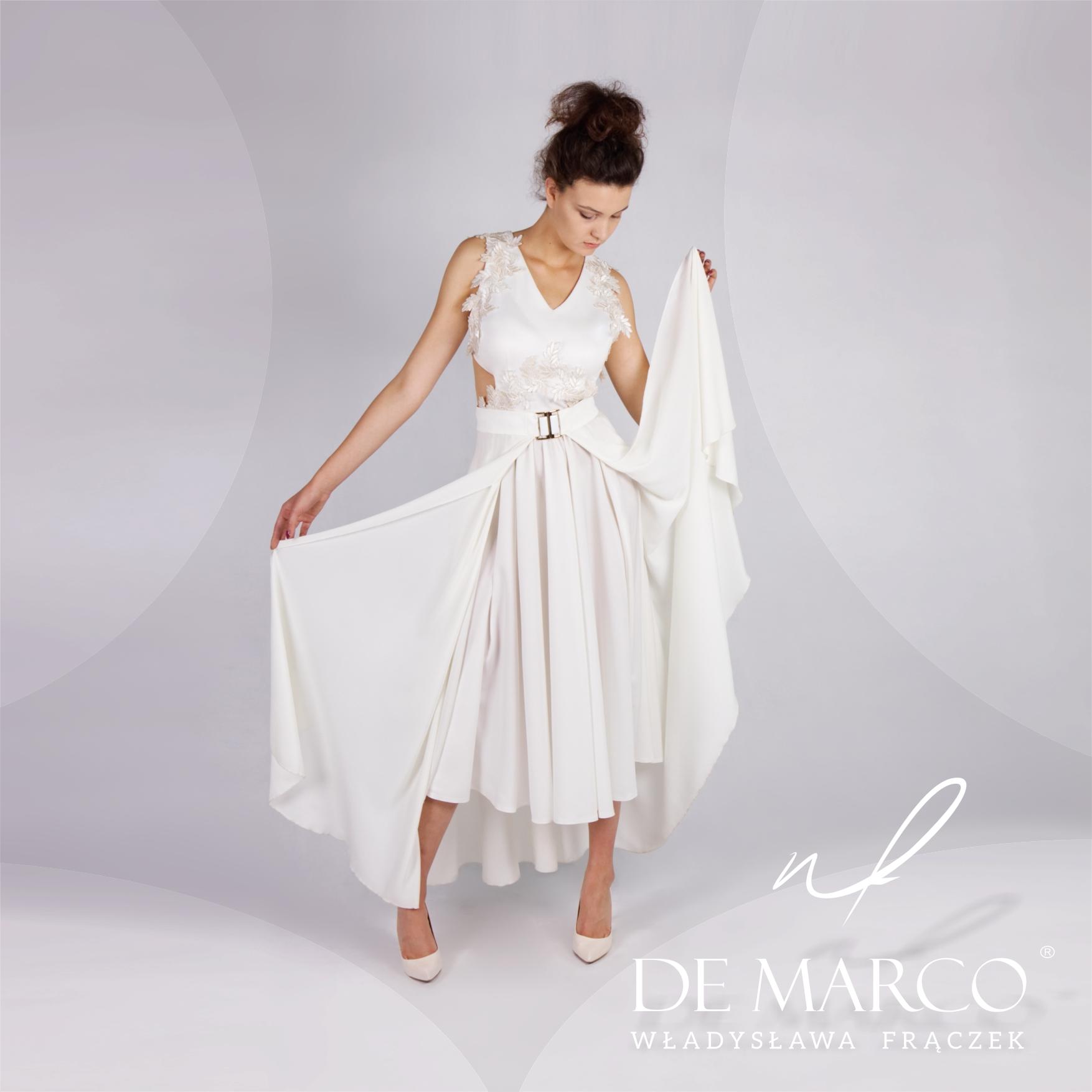 Sukienka do ślubu cywilnego, suknia ślubna na piuerwszy i na drugi dzień od projektantki. Kreacje na ślub dla młodej pani po 40+ szyte na miarę w De Marco. Sklep internetowy.