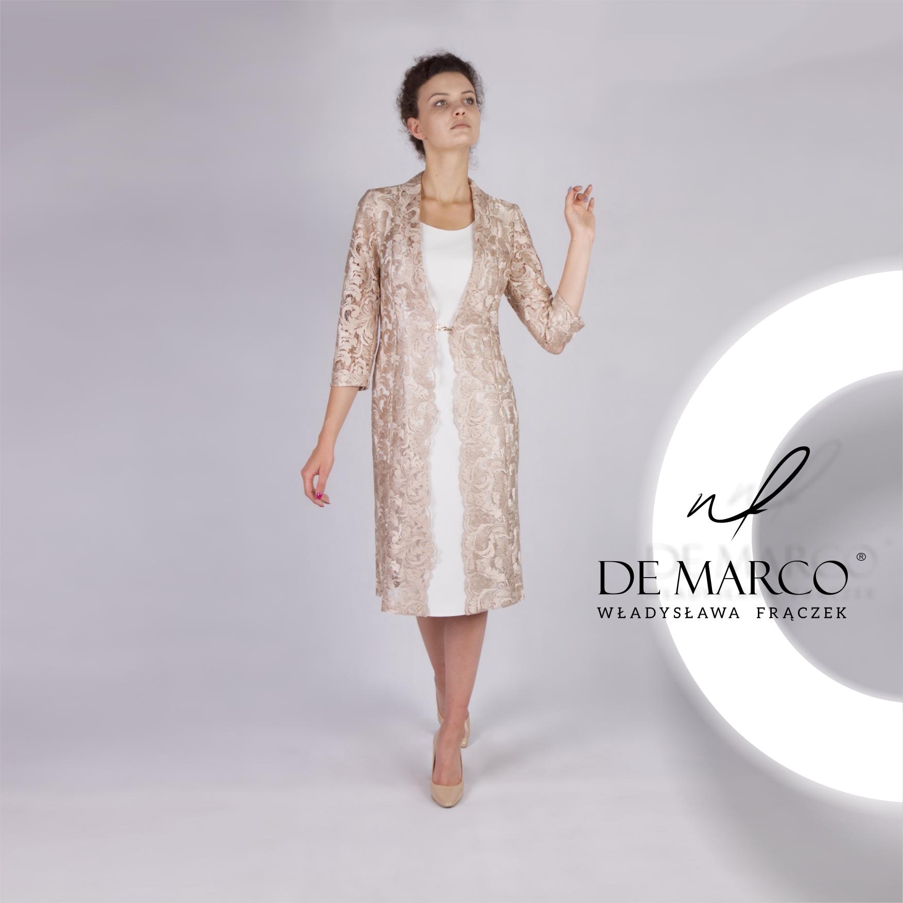 Komplet sukienka z płaszczykiem z koronki to idealna stylizacja dla matki wesela. Zapraszam do sklepu internetowego De Marco. Szyjemy na miarę ekskluzywne zestawy na wesele.