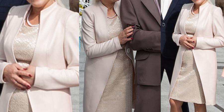 Płaszcz z sukienką na wesele dla matki weselnej. Ekskluzywna stylizacja na wesele jesienią.
