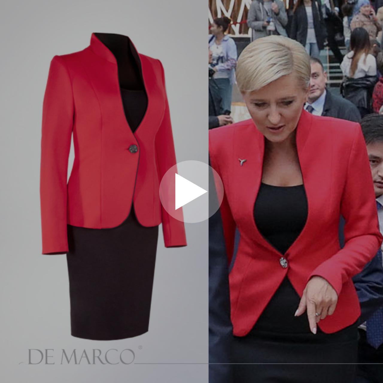 Pierwsza Dama Agata Kornhauser-Duda w czerwonej stylizacji od projektantki z Frydrychowic. Piękny kostium damski na wizyty, komunię, przyjęcia weselne i inne uroczystości. Sklep internetowy De Marco zaprasza do obejrzenia kilka ujęć Pani Prezydentowej w komplecie Venus. Zestaw obejmuje żakiet i spódnice.