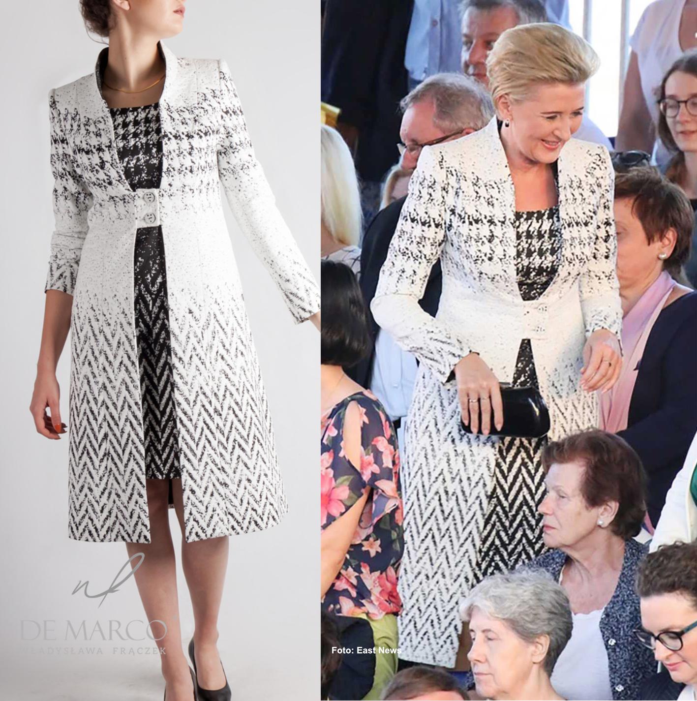 Pierwsza Dama w czarno białym płaszczu z sukienką do kompletu. Agata Duda po raz kolejny w kreacji z Frydrychowic.