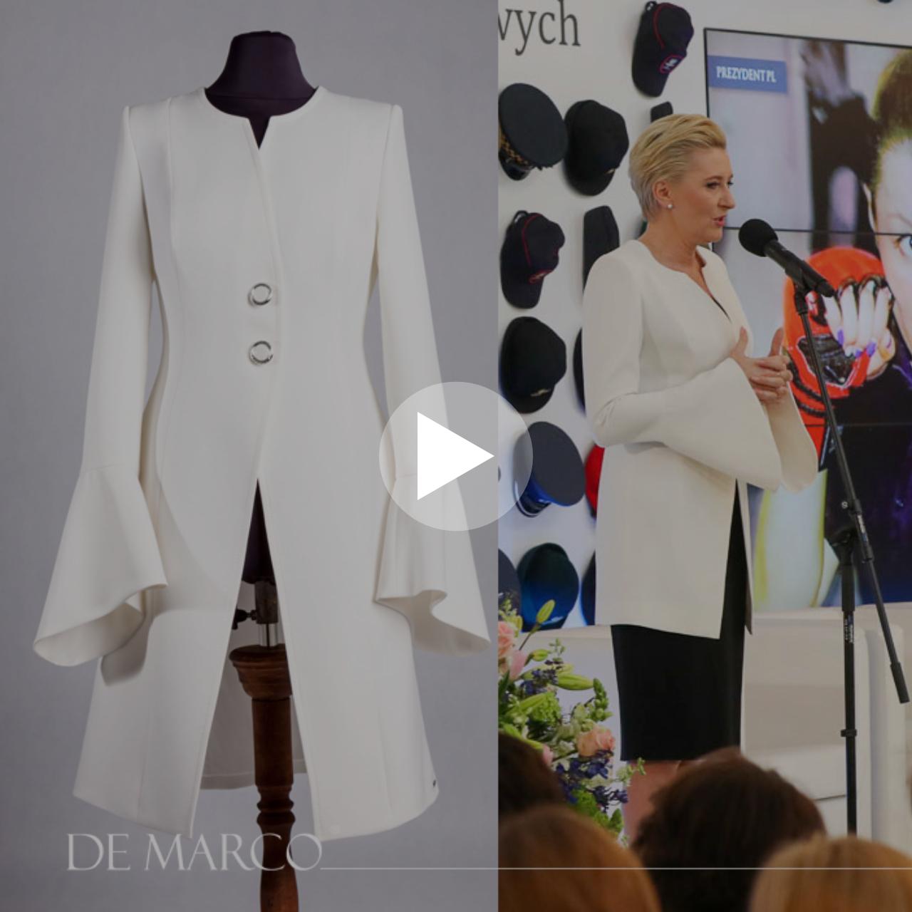 Zobacz jak, prezentowała się Pierwsza Dama Agata Kornhauser-Duda w wizytowym płaszczyku do sukienki z De Marco.