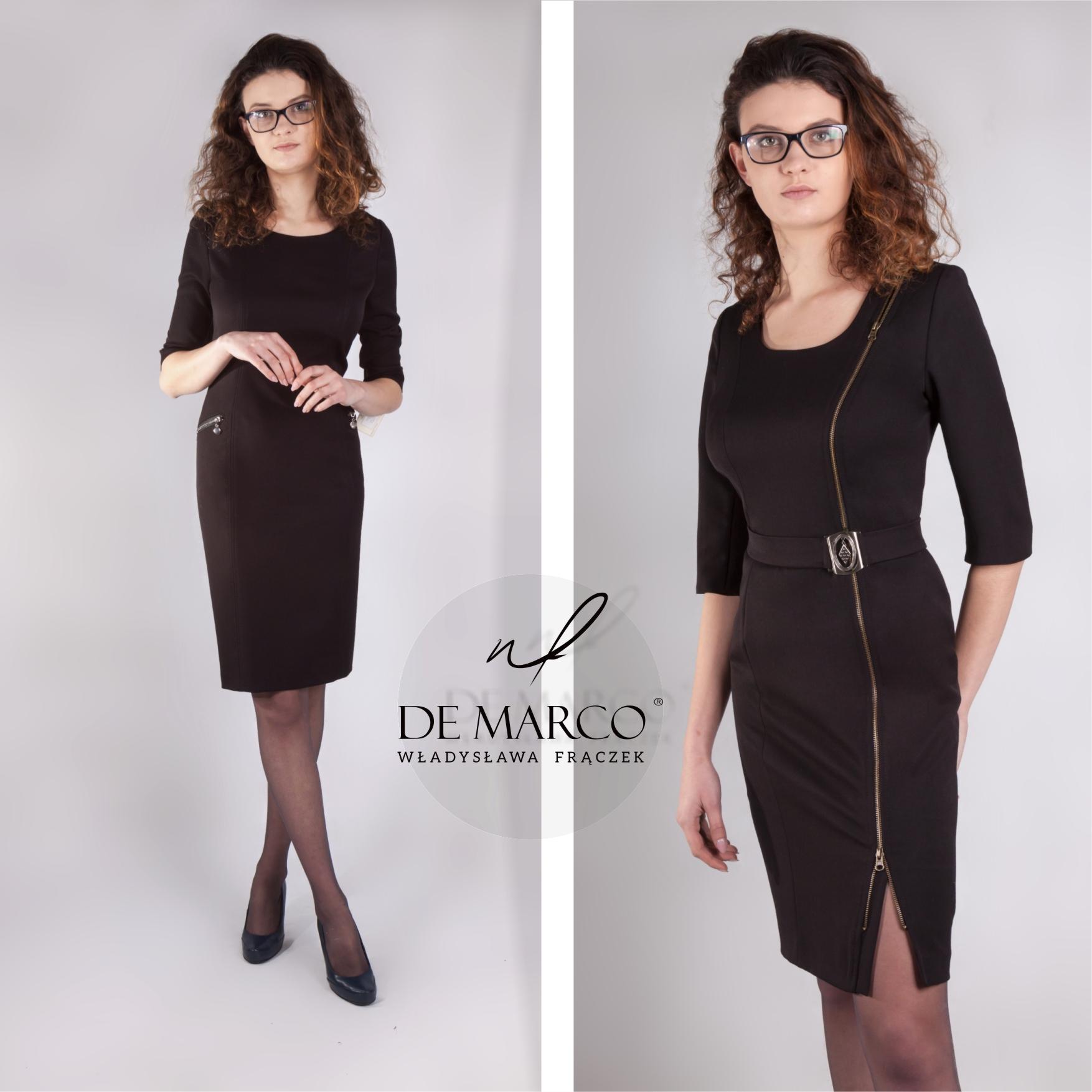 Biznesowe sukienki asymetryczne. Sklep internetowy De Marco.