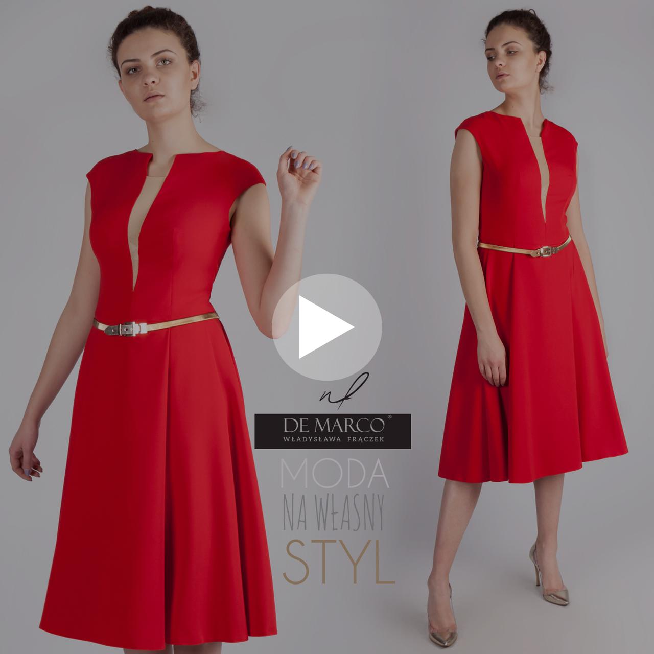 Elegancka czerwona sukienka na wesele w stylu retro dla mamy pana młodego lub pani młodej.