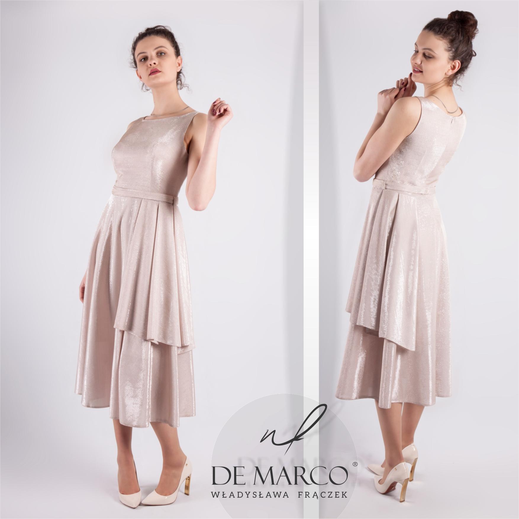 Asymetryczna suknia dla mamy wesele do połowy łydki, szyta na miarę w De Marco. Sklep internetowy projektantki mody z Frydrychowic.
