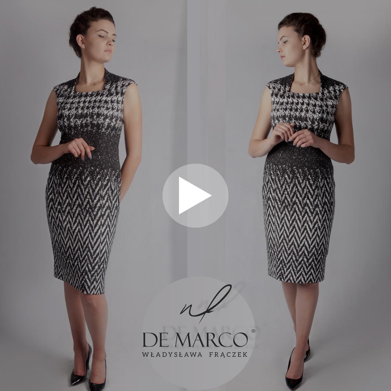 Czarno biała sukienka idealna na wizyty dyplomatyczne, wernisaże, kameralne uroczystości firmowe i rodzinne oraz do pracy. Szalenie wygodna i elegancka sukienka z De Marco.