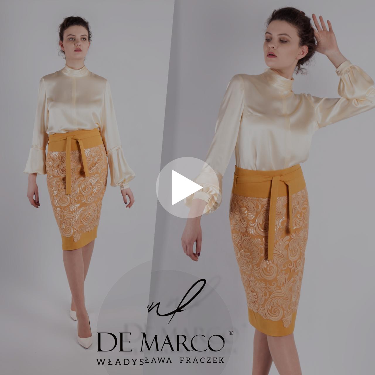 Elegancki komplet wizytowy, jedwabna bluzka ze spódnicą. Szycie na miarę De Marco.