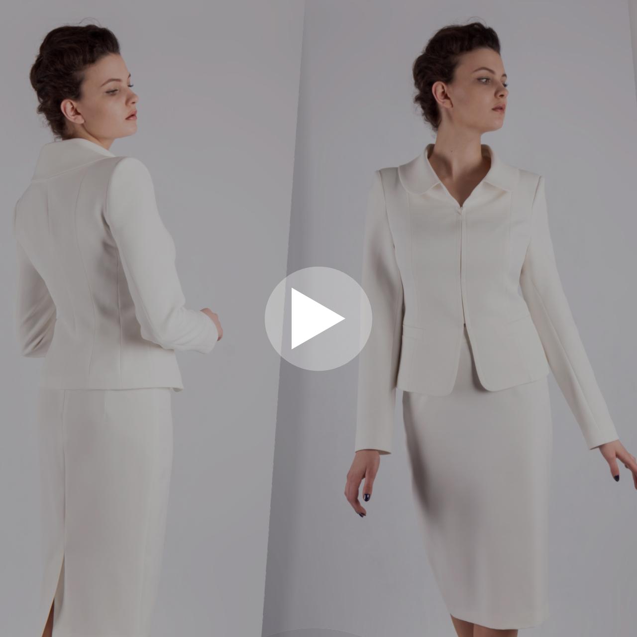 Ekskluzywny kostium damski szyty na miarę u projektantki mody z De Marco. Ekskluzywna odzież wizytowa w sklepie internetowym. Video prezentacja śmietanowego kompletu żakiet ze spódnicą.