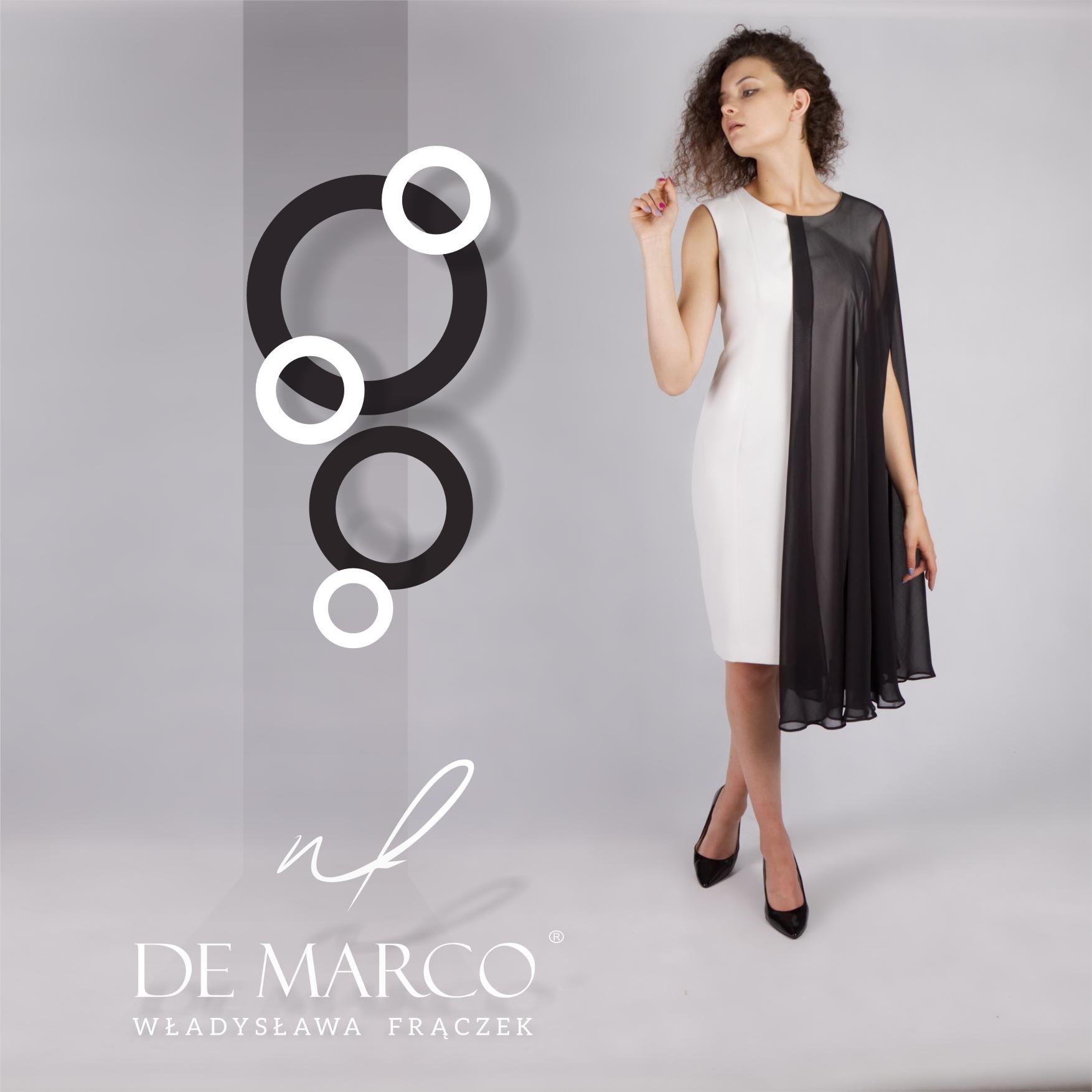 Czarno biała sukienka dla matki weselnej szyta na miarę. Sklep internetowy z ekskluzywnymi sukienkami na wesele.