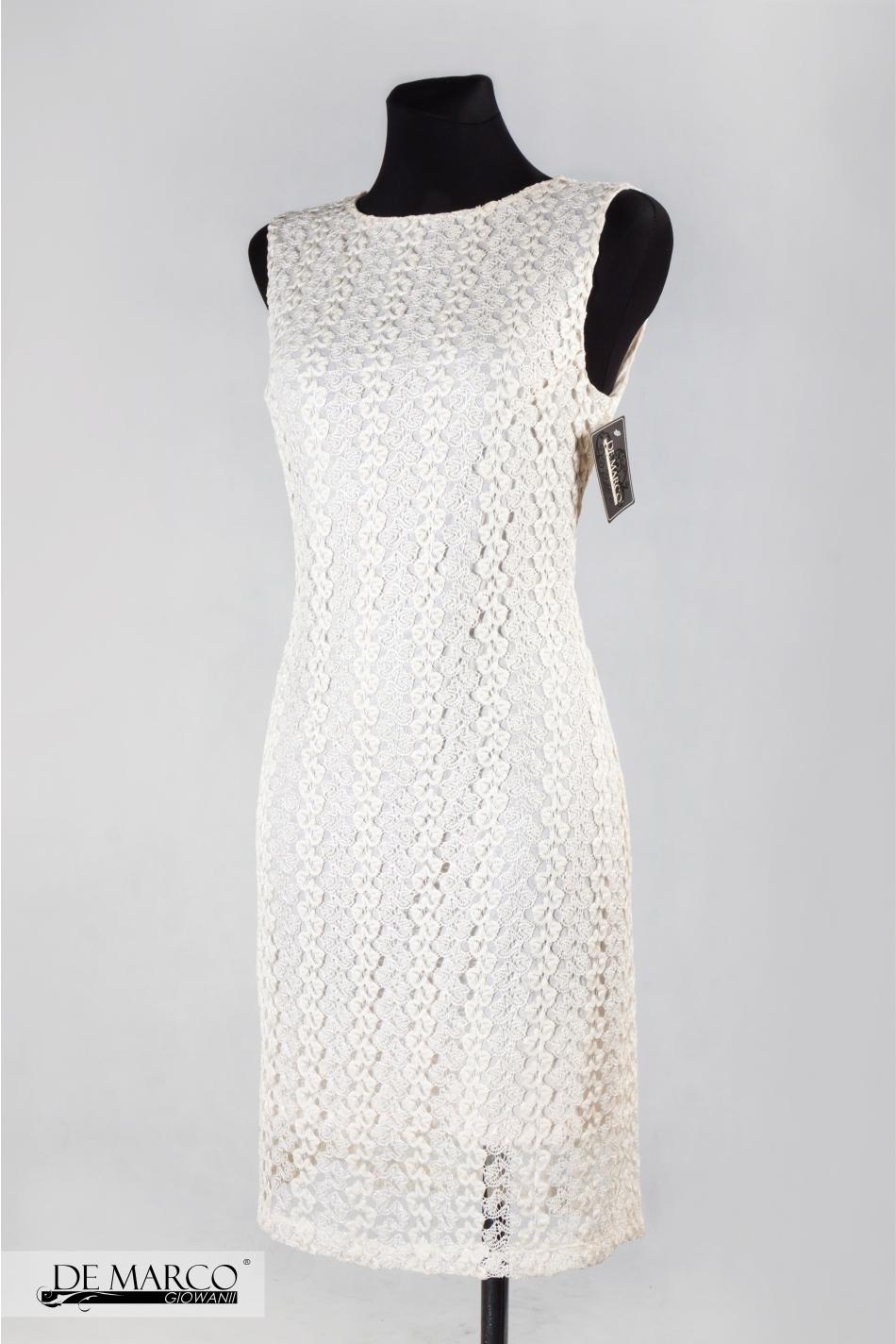 a459fd6582 ... Elegancka sukienka Koronkowa Krem ...