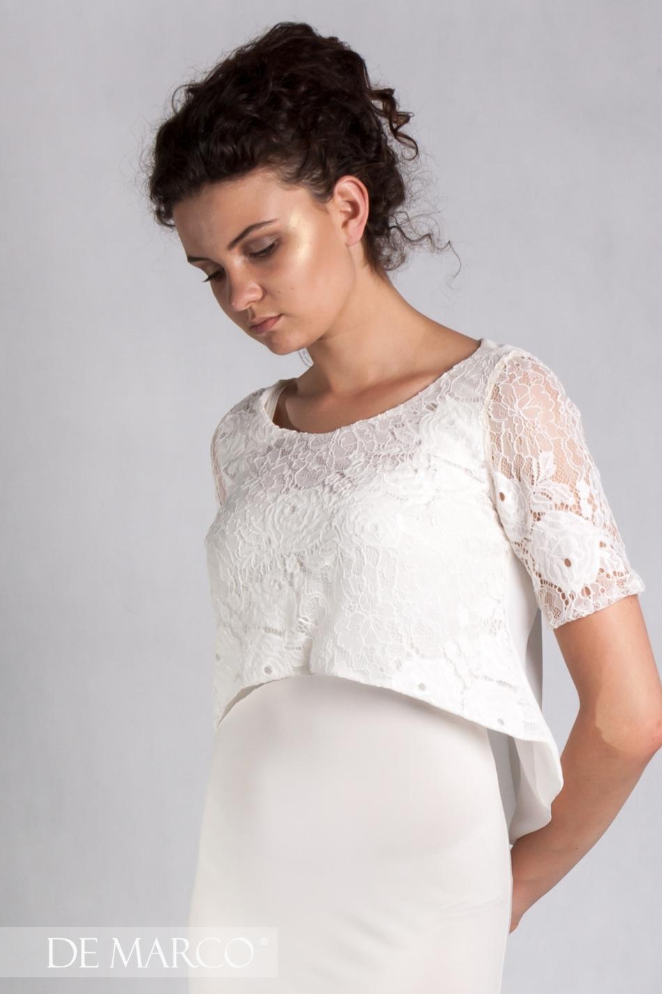 9d6e854ee0 Piękna kreacja dwuczęściowa z koronkowym topem Leticia · Modna kreacja na  lato do pracy Leticia · Elegancka śmietanowa sukienka ...