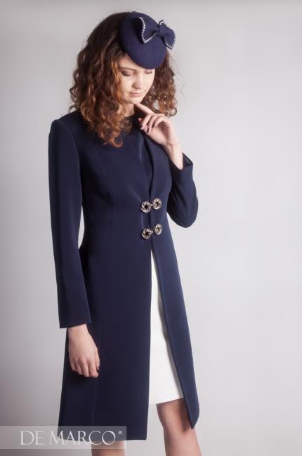 8d1e8f8c0d Granatowy płaszcz do sukienki Konstancja