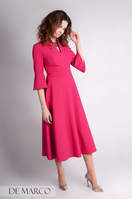 d38aa720f3349f Elegancka sukienka do połowy łydki Agata