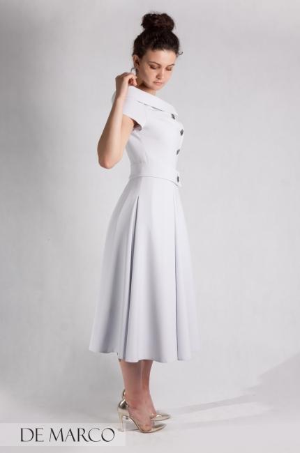 7249470378 Wizytowa sukienka na wesele Cindy. Sukienki do połowy łydki.