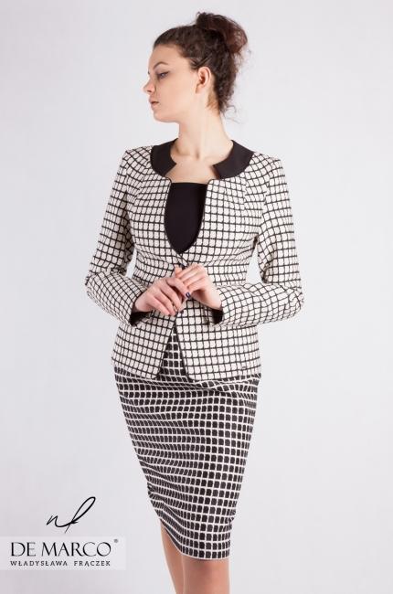 6c8c75990f9414 Elegancki kostium biznesowy Klaudia. Ekskluzywna odzież damska szyta na  miarę. Sklep De Marco.